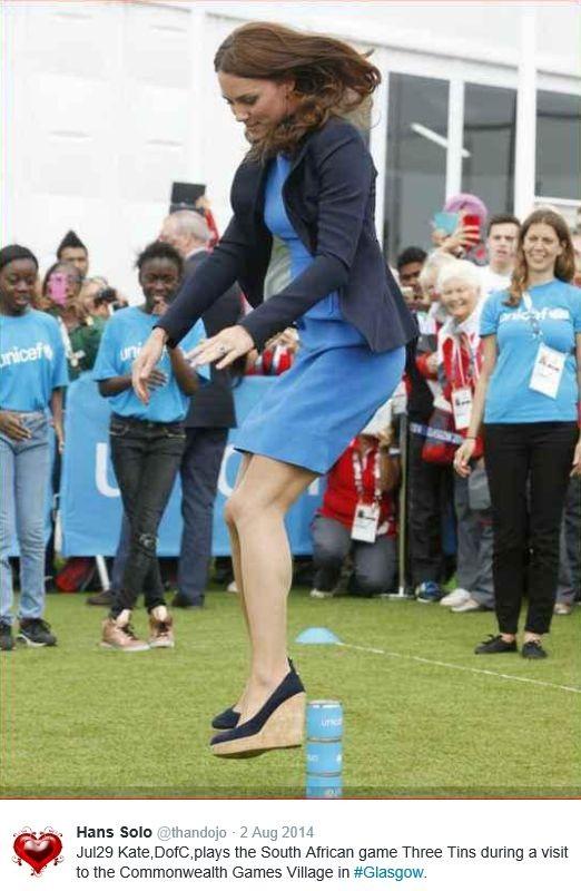 Hertogin Kate sport op hoge hakken Glasgow Games 2014