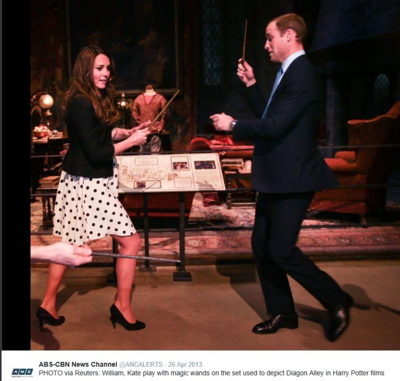 Hertogin Kate sport op hoge hakken Harry Potter 2013